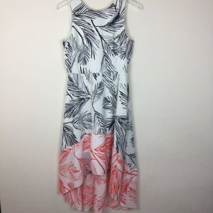 Vince Camuto tropical print high low dress size 8